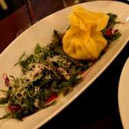 """""""Scatinni"""" Dumpling filled with Veal, Italico Cheese, Blood Oranges Sauce, Green Salad with Endive (34 ILS)"""