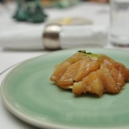 """Tarte Tatin"" Granny Smith Apples, Foie Gras Mousse, Seared Chicken liver, Shortcrust, Sour Apple-Rocket Sauce and Thyme."