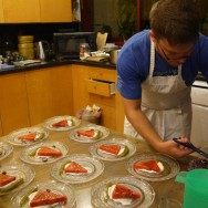 Plating the rest of the watermelon dish