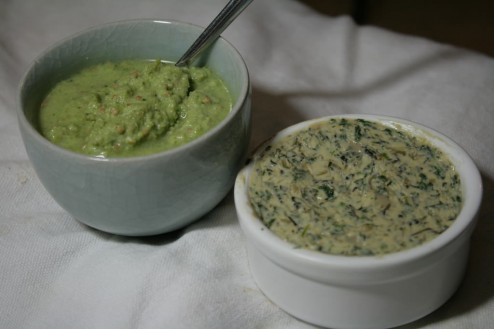 Homemade herbs butter / Indian coconut and coriander chutney