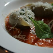 Shell pasta filled with spinach-béchamel and blue cheese / Tomato salsa / Parmesan / Pumpkin and sage / Greek hard cheese