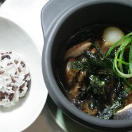 Fish and mushroom Japanese style stew in a hot clay pot / Pearl onions and mushrooms / Salmon and Corvina / Nori Seaweed / Aromatic rice