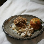 """Crazy Profiterole / Creme Patissier / Nectarine in thyme syrup / Peanut ice-cream / Salted caramel / """"cacahuates japoneses"""" / Kahlua Whipped cream / Hot dark chocolate sauce"""