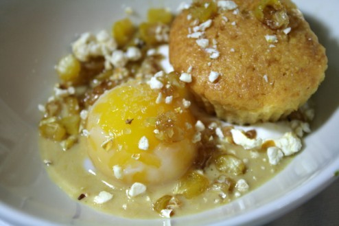 The Yellow Dish - Caramelized Corn Puree, Sour Cream, Corn Muffin, Sous-Vide Creamy Yolk, Sweet Corn and Popcorn.