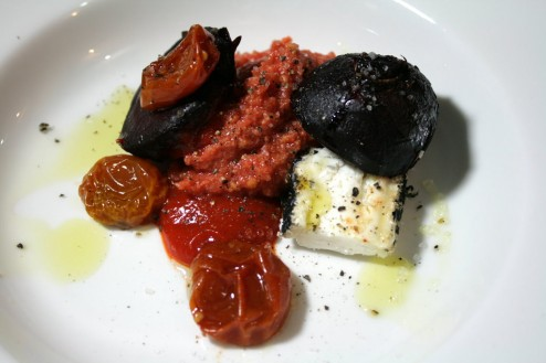 The Red Dish (Vegetarian Version) - Tomato Pulp and Parmesan, Bell-Peppers and Chili Coulis, Dried Cherry Tomatoes, Carbonized Chevre, Oven Roasted Beets with Olive Oil and Balsamic Reduction.