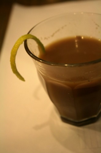 Start the meal with a winter cocktail to warm up: warm Chai full of spices and rum decorated with lemon zest twist.