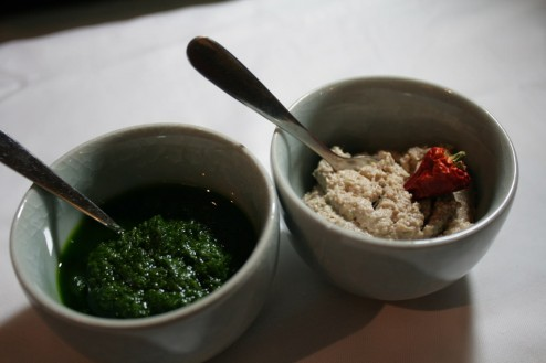 Coconut and green curry chutney, Parsley paste to go with the bread