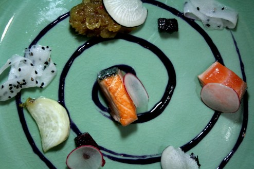 Winter Candies: spiral of red cabbage and ginger sauce, salmon semi cooked, fennel and Arak marmalade, roasted beet cubes, butter glazed turnips, pickled daikon with black sesame, thin slices of radishes and black radish.