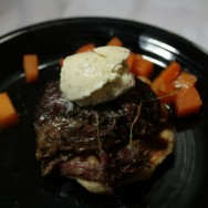 """Slow cooked veal cheek, """"Liege"""" waffle, red wine and veal jus, root vegetables, cardamom ice cream"""